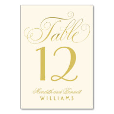Wedding Table Number | Gold Script Monogram Card at Zazzle