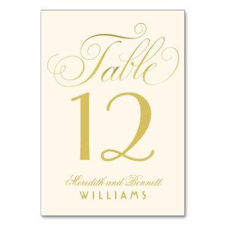 Wedding Table Number | Gold Script Monogram Card