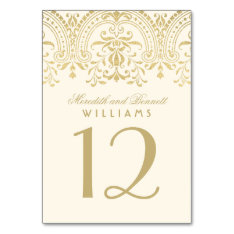 Wedding Table Number | Ivory and Gold Colored Card at Zazzle