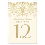 Wedding Table Number   Ivory Gold Vintage Glamour Table Cards
