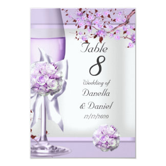 Wedding Table Number Lavender Purple Lilac 4 Custom Invitation