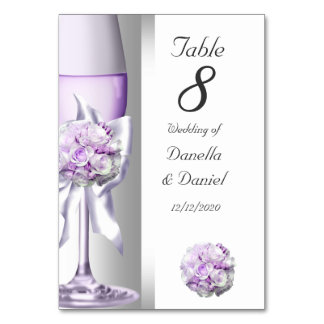 Wedding Table Number Lavender Purple Lilac Card