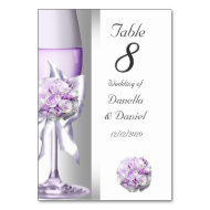 Wedding Table Number Lavender Purple Lilac Table Cards