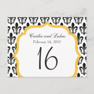 Wedding Table Number | New Orleans | Gold Postcards