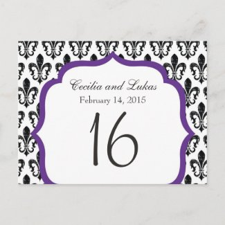 Wedding Table Number | New Orleans | Purple Postcards