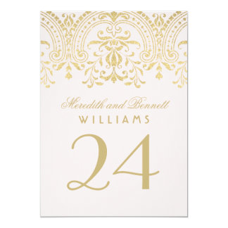 Wedding Table Number | Pink Gold Vintage Glamour 5x7 Paper Invitation Card