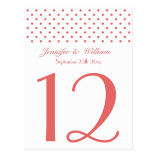 Wedding Table Number Pretty Red Polka Dots Postcard