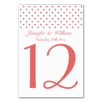 Wedding Table Number Pretty Red Polka Dots Table Card