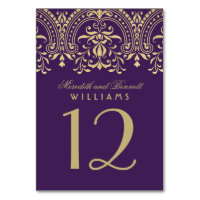 Wedding Table Number | Purple Gold Vintage Glamour