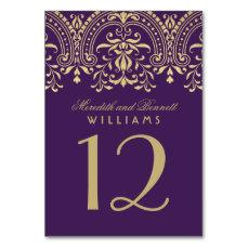 Wedding Table Number | Purple Gold Vintage Glamour