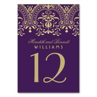 Wedding Table Number | Purple Gold Vintage Glamour Card