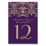 Wedding Table Number | Purple Gold Vintage Glamour Table Cards