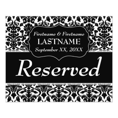 Wedding Table Number Reserved Sheet