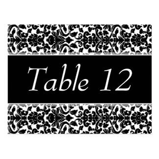 Wedding Table Number Sign Damask Pattern Postcard