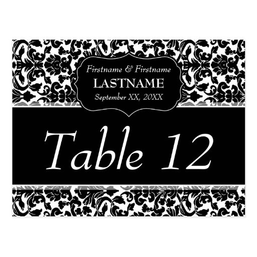 Wedding Table Number Sign Damask Pattern Postcard