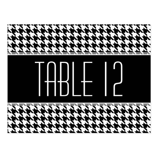 Wedding Table Number Sign HOUNDSTOOTH Post Card