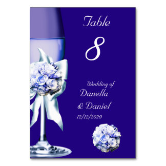 Wedding Table Number Silver Blue Navy 2 Table Cards