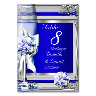 Wedding Table Number Silver Blue Navy Card