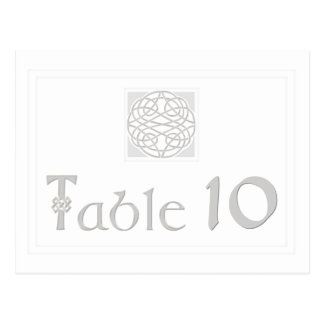 Wedding Table Number Silver Effect Celtic Knot Postcard