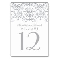 Wedding Table Number | Silver Vintage Glam