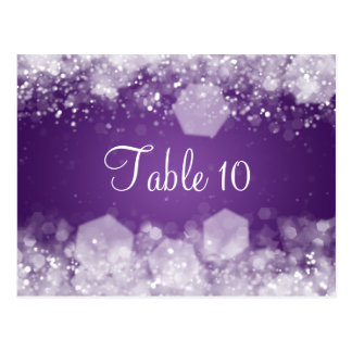 Wedding Table Number Sparkling Night Purple Post Cards