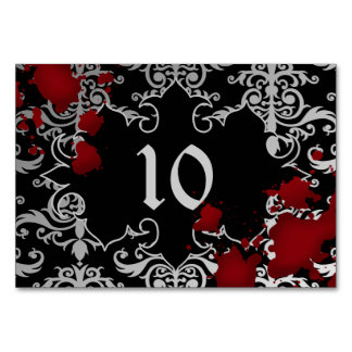 Wedding table number vampire theme