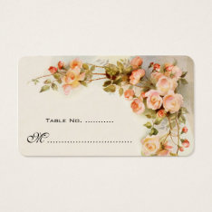 Wedding Table Number, Vintage Roses Business Card at Zazzle