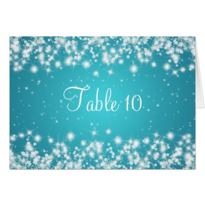 Wedding Table Number Winter Sparkle Blue card