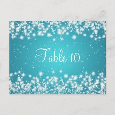 Wedding Table Number Winter Sparkle Blue postcard