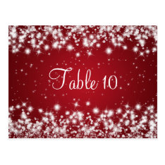 Wedding Table Number Winter Sparkle Red Postcard at Zazzle
