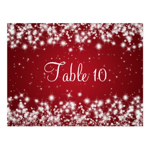 Wedding Table Number Winter Sparkle Red Postcards