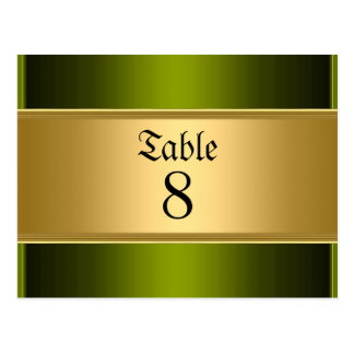 Wedding table Numbers Card Gold Green