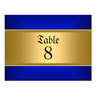 Wedding table Numbers Gold Blue Postcard