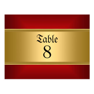 Wedding table Numbers Gold Red Postcard