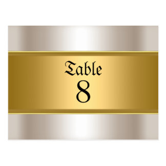 Wedding table Numbers Gold Sepia Postcard