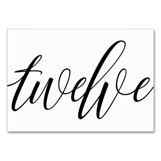 Wedding Table Numbers - Luxe Typography - Black 12