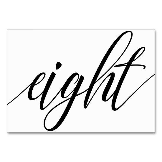 Wedding Table Numbers - Luxe Typography (Black) 8