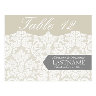 Wedding Table Numbers Sign - Lace Postcard