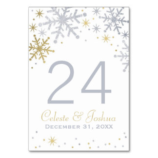 Wedding Table Numbers | Silver and Gold Snowflakes