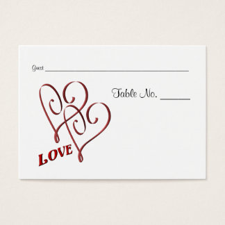 Wedding Table Place Cards Love Two Hearts