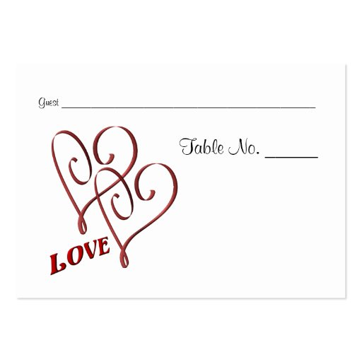 Wedding table place cards love two hearts large business for Table placement cards templates