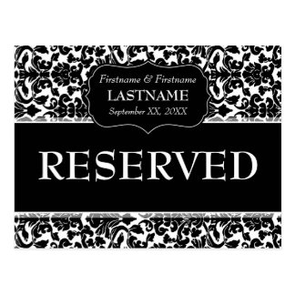 Wedding Table RESERVED Sign Damask Pattern Postcard
