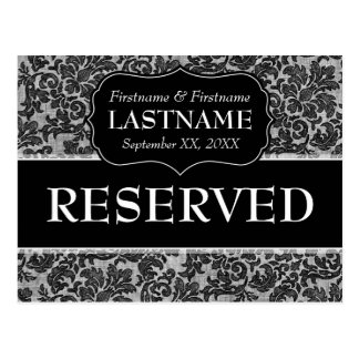 Wedding Table RESERVED Sign Lace Pattern Postcard