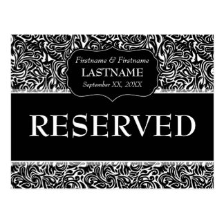 Wedding Table RESERVED Sign Modern Pattern Postcard