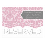 Wedding Table RESERVED Sign - Pink Lace Postcard