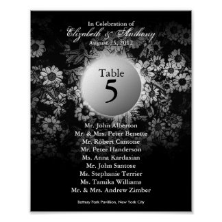 Wedding Table Seating Chart Print Black Floral