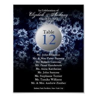 Wedding Table Seating Chart Print Blue Floral