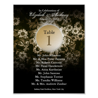 Wedding Table Seating Chart Print Gold Floral