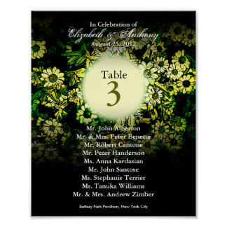 Wedding Table Seating Chart Print Green Floral
