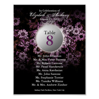 Wedding Table Seating Chart Print Pink Floral